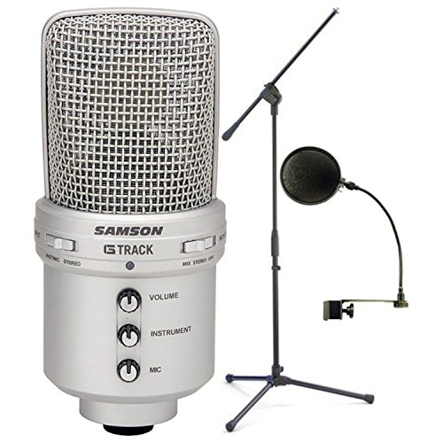 Samson Audio GM1U G-Track Condenser Microphone w/ Built-in USB Audio Interface w/ Pop Filter and Microphone (Samson Condenser Musical Instruments Microphones)