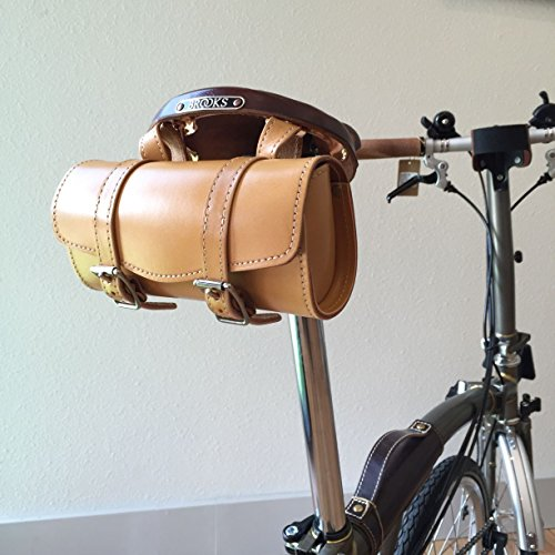 Genuine Cowhide Retro Bicycle Handle Bar or Saddle Bag (Honey, Small)