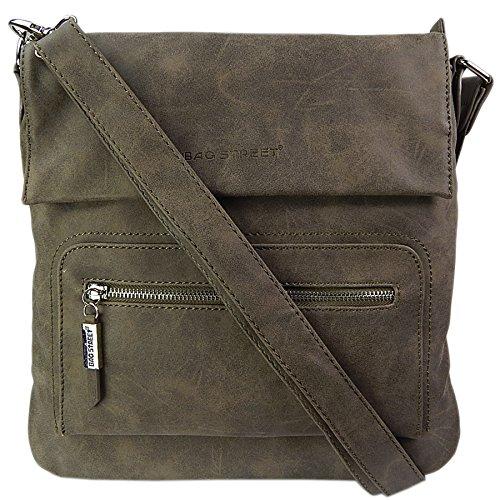Bag Street , Sac pour femme à porter à l'épaule Noir gris/noir Taupe