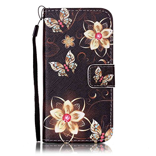 Price comparison product image Urberry Iphone 7 Wallet Case, Black Flower Print Case for Iphone7, Shock-proof Case with a Free Screen Protector