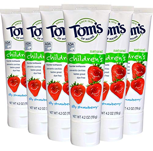 Natural Kosher Toothpaste Fluoride Anticavity - Tom's of Maine Anticavity Children's Toothpaste, Silly Strawberry, 4.2 Ounce (Pack of 6)
