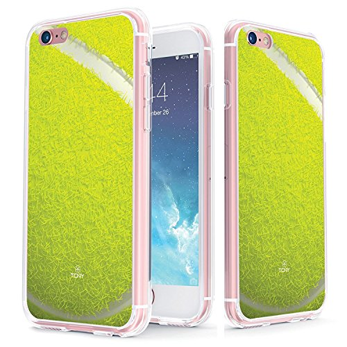 True Color Case Compatible with iPhone 6s Plus Case - Clear-Shield Tennis Ball Sports Collection Printed on Clear Back - Soft and Hard Thin Shock Absorbing Protective Bumper Cover (Tennis Ball Charger)