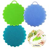 Kitchen Silicone Sponge Food-Grade Antibacterial Dish Scrubber, Heat-Resistant Mat, Multipurpose Silicone Dish Washing Brush for Pot, Pan, Fruit and Vegetables 3 Colors (B)