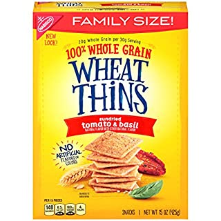 Wheat Thins Sundried Tomato & Basil Crackers - Family Size, 15 oz (Pack of 6)