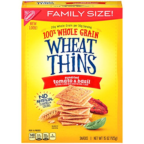 Wheat Thins Sundried Tomato & Basil Crackers - Family Size, 15 oz (Pack of ()