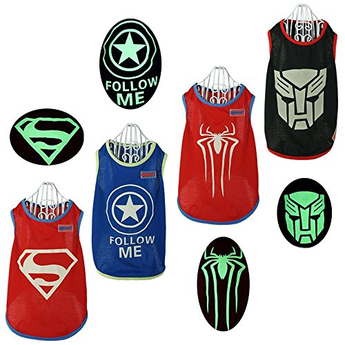 Pawow 4 Pack Luminous Light up Superhero Pet Costume Puppy Dog Cotton T-shirt, Large, Back Length (Buy Superhero Costume)