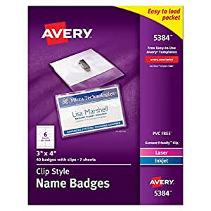 Avery Top Loading Insertable 3 x 4 Inch White Name Badges 40 Count (5384)