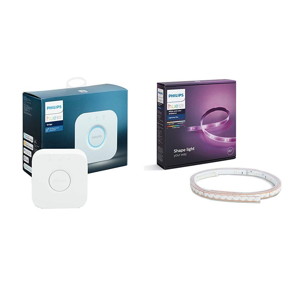 Philips Hue Smart Hub (Works with Alexa Apple HomeKit and Google Assistant) and Philips Hue White and Color Ambiance LightStrip Plus