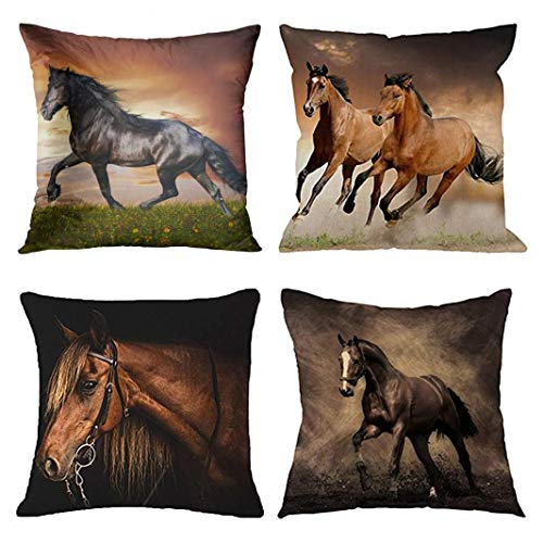 Emvency Set of 4 Throw Pillow Covers Horse Running Waist Horses Armchair Simplin Creative Cartoon Animal Night Decorative Pillow Cases Home Decor Square 18x18 Inches Pillowcases (Horse Couch Pillows)