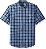 G.H. Bass & Co. Men's Size Big Short Sleeve Madawaska Plaid Trail Shirt, Rich Navy Blazer, 2X-Large Tall