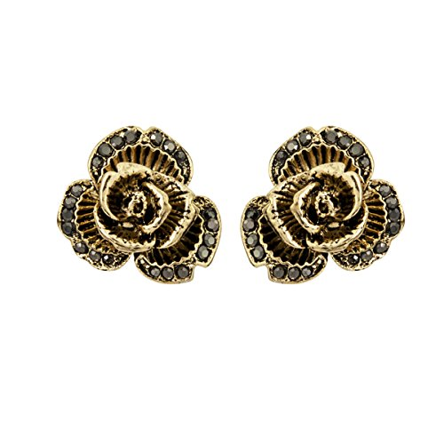 Lova Jewelry Rose Flower Blossom Crystal Embellishments Bronze Tone Metal Earrings