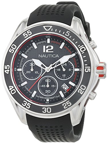 Nautica Men's NMX 1600 Stainless Steel Quartz Watch with Silicone Strap, Black, 22 (Model: NAD23503G