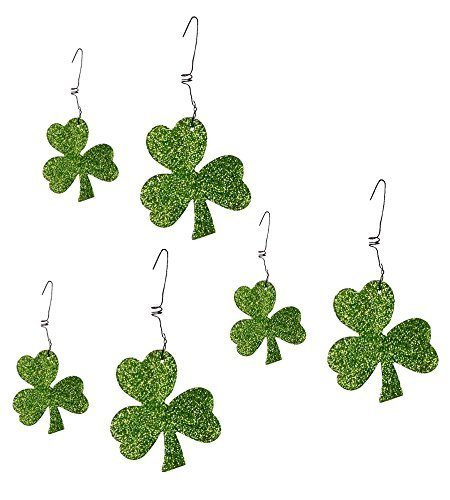 Green Glitter Shamrock Ornaments Metal and Glitter Boxed Set of 6 -