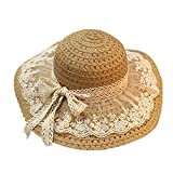 Lace Bowknot Straw Sun Hat Foldable Wide Brim Boater Hat Summer Beach Holiday Cap Breathable Adjustable Cap for Women Ladies Girls Jungle Lawer Khaki
