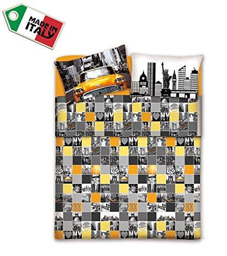 New York Citta R.P Made in Italy Parure Copripiumino Sacco Letto da 1 Piazza e Mezza con 2 FEDERE CM 50X80-100/% Cotone Trama fitta