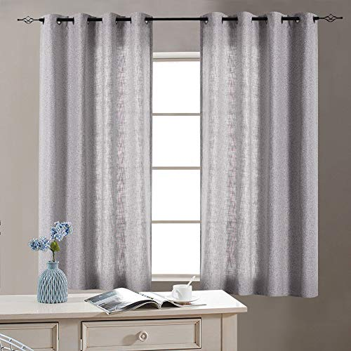 Grey Linen Textured Curtains for Living Room Burlap Light Filtering Window Treatment Set for Bedroom 63 inches Long Flax Drapes 2 Panels Grommets Top