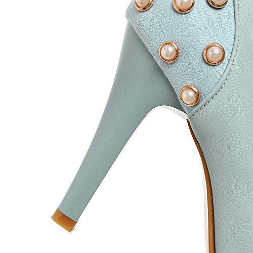 AgooLar Damen Rund Zehe Hoher Absatz Weiches Material Eingelegt Schnalle Pumps Schuhe Blau
