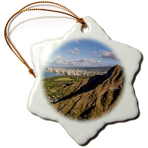 3dRose Danita Delimont - Hawaii - Diamond Head, Waikiki, Oahu, Hawaii - 3 inch Snowflake Porcelain Ornament (ORN_314791_1)