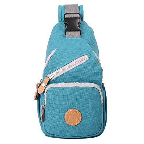 Eshow Women's Sling Backpack Shoulder Bag Sling Bag Crossbody Bag for Outdoor Cycling Biking Short Traveling Casual Canvas Blue (Vertical Bag Leather Shoulder)