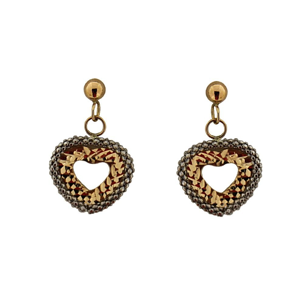0.60x 0.40 Inch 18Kt Dangle Two tone open heart post earrings