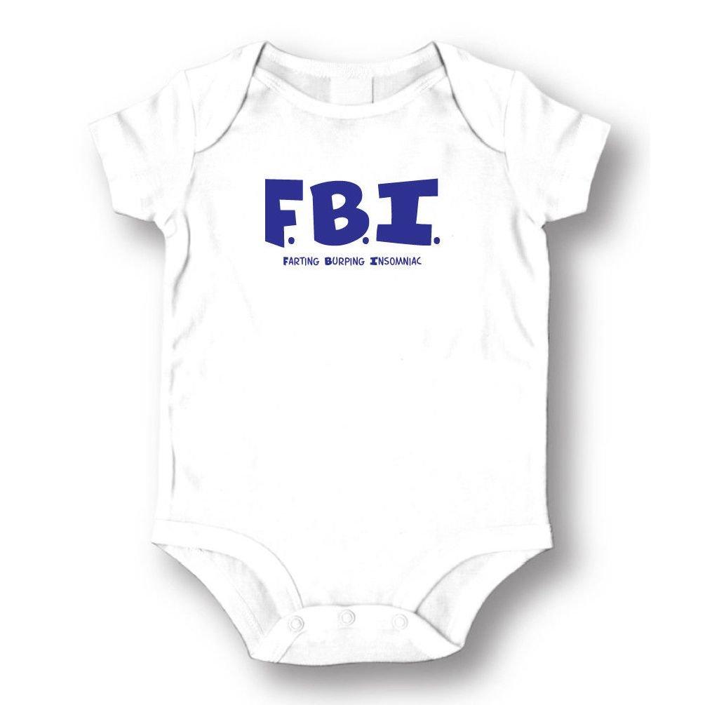 Dustin clothing series FBI Farting Burping Insomniac Baby Boys Girls Toddlers Funny Romper 0-24M