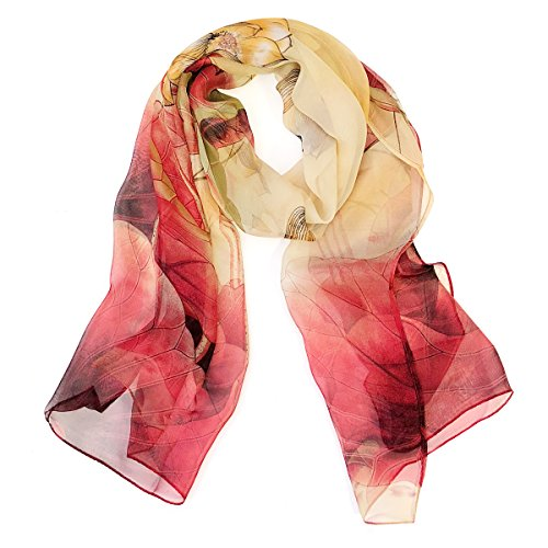 (Wrapables Lightweight Sheer Silky Feeling Chiffon Scarf, Red Lotus Flower)