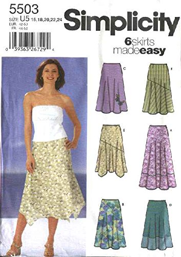 (Simplicity Sewing Pattern 5503 Misses Size 16-24 Easy Skirts Fitted Bias Handkerchief Hemline Skirts)