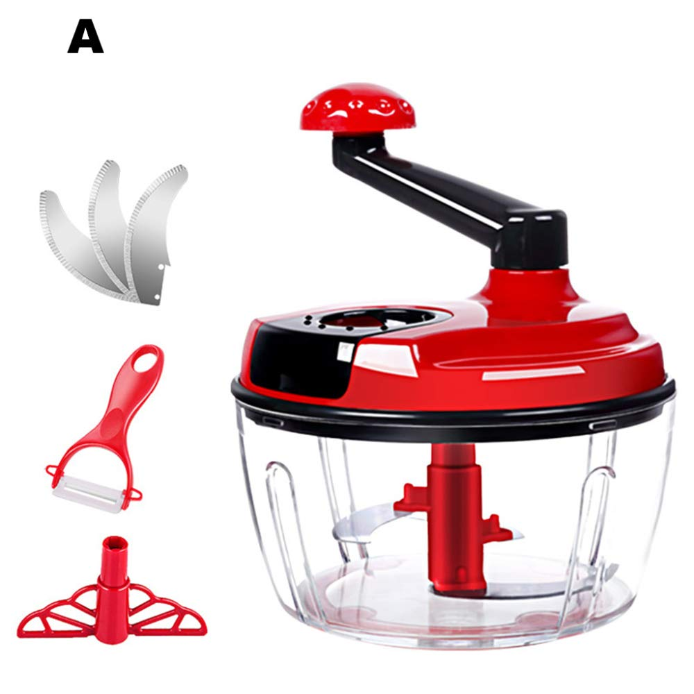 DENGSH Vegetable Slicer£¬Manual Food Cooking Machine,Multi-Function Spiral Chopper,Do Not Hurt The Hand Veggie Chopper Healthy Material/Red/A by DENGSH