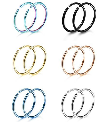 Thunaraz 6 Pairs Non Pierced Stainless Steel Fake Nose Ring Septum Lip Helix Cartilage Tragus Ear Clip Hoop Rings 20G ()