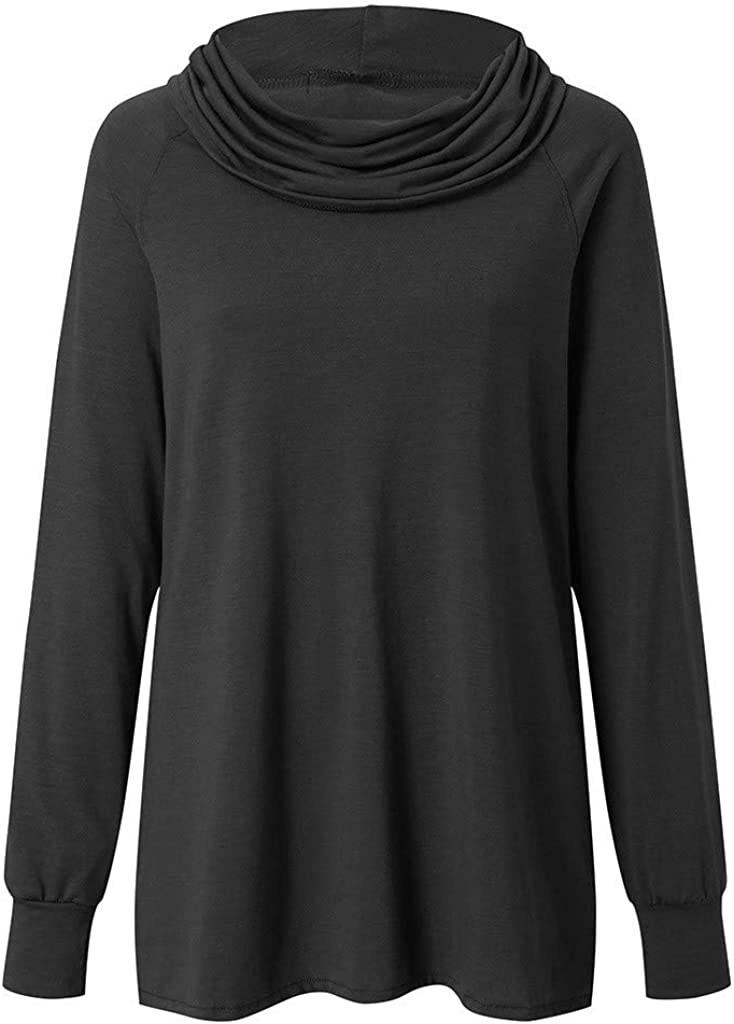 sheart 9 Womens Cowl Neck Tunic Tops Long Sleeve Solid Casual Loose Fit Sweatshirt Hoodie T-Shirt Tops