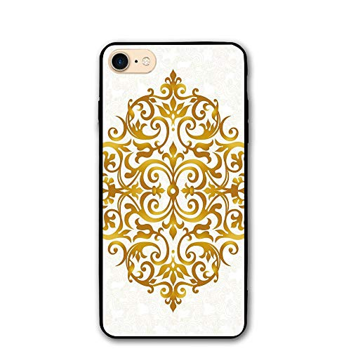 Haixia IPhone 7/8 Cover Case 4.7 Inch Gold Mandala Victorian Style Traditional Filigree Inspired Royal Oriental Classic Print Decorative Gold White