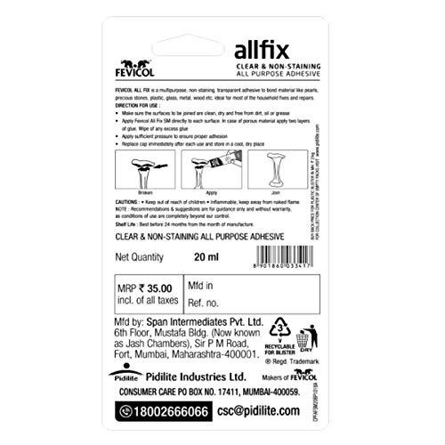 Pidilite Fevicol Allfix Clear and Non-Staining All Purpose Adhesive (20 ml)