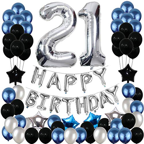 21st Birthday Decorations, Yoart 21 Birthday Party Decoration Balloons Party Supplies Blue and Silver Black Foil Star Balloons for Women Men 80pcs]()