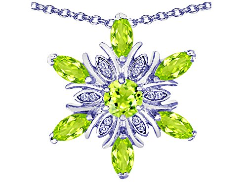 (Star K Simulated Peridot and Cubic Zirconia Snowflake Pendant Necklace Sterling Silver)