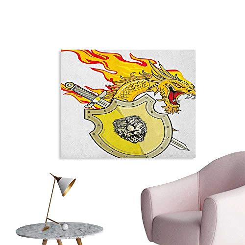 Anzhutwelve Dragon Wallpaper Legendary Creature with Royal Shield Hero Knight Medieval Times Print Wall Poster Marigold Pistachio Green W32 xL24