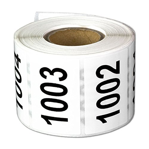 Consecutive Number Labels Self Adhesive Stickers1001 to 1500 (White Black / 1.5 x 1 Inch) - 500 Labels Per Pack