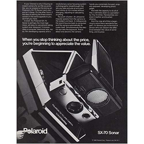 RelicPaper 1980 Polaroid SX-70 Sonar Land Camera: Stop Thinking, Polaroid Print Ad (Sx 70 Sonar)