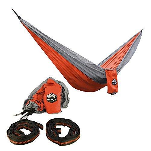 Moxie Outfitters Lightweight Portable Hammock, Sunset Orange / Slate