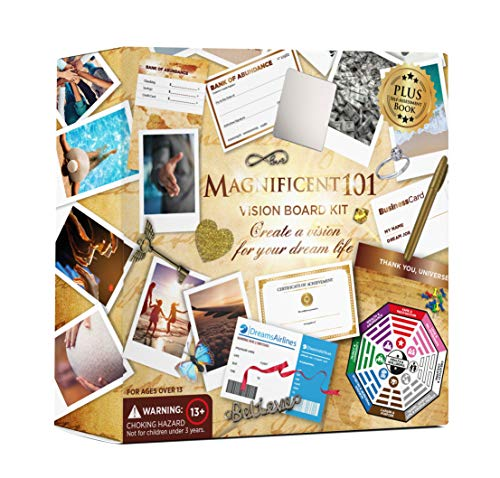 Magnificent101 Vision Board Kit - Create a Board of Your Ambitions with +60 Vision Board Supplies. Use The Power of Intention and Visualization to Achieve Your Dreams