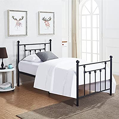 Twin Size Bed Frame, VECELO Metal Platform Mattress Foundation / Box Spring Replacement with Headboard Victorian Style - Updated square metal steel structure for more steadiness, solve noise problem and prevent mattress from moving or sinking No box spring needed, suitable for twin size mattress, perfect for residence bedroom, Dorm,guest room, boys girls kids student children room High Height Storage Space, 12.6 inches storage space under the frame, offer more space for you. The weight capacity of twin bed frame is 330 lbs - bedroom-furniture, bedroom, bed-frames - 51Xw3SS4UZL. SS400  -