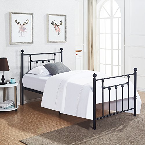 VECELO Twin Size Bed Frame, Metal Platform Mattress Foundation/Box Spring Replacement with Headboard Victorian ()