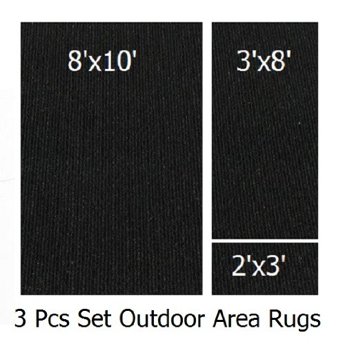 Indoor-Outdoor Black, 3 Piece Set, Patio Rug's (8x10 Area Rug, 3x8 Runner, 2x3 Mat) (8 Piece Patio Set Cheap)