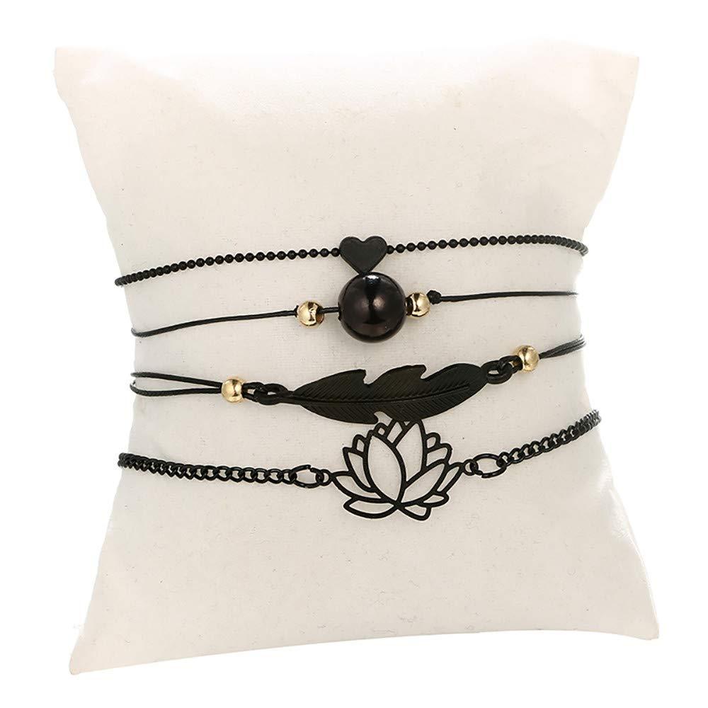 Swyss 4 Pcs Black Friendship Bracelet Love Heart/Lotus/Bead/Leaves Adjustable Bracelet Handcrafted Jewelry Women