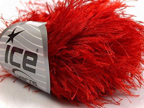 Long Yarn Eyelash (Red Extra Long Eyelash Yarn Ice Luxurious Fun Fur 50gr 38yds 13278)
