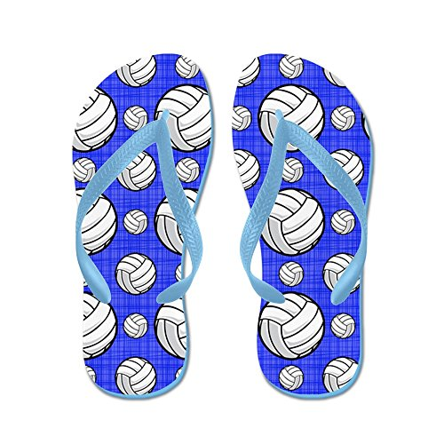 Cafepress Royal Blue Volleyball Pattern - Chanclas, Sandalias Thong Divertidas, Sandalias De Playa Caribbean Blue