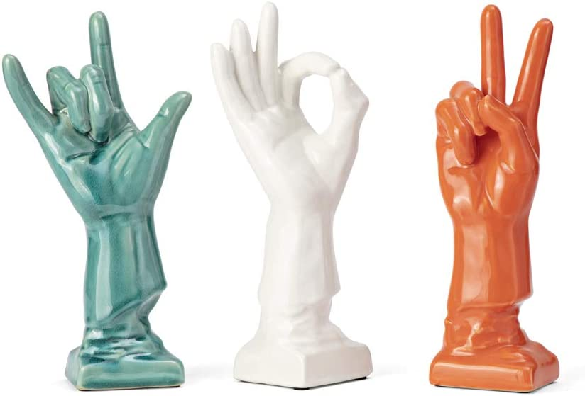 IMAX 69265-3 Cohen Ceramic Hands Sculpture, Set of 3