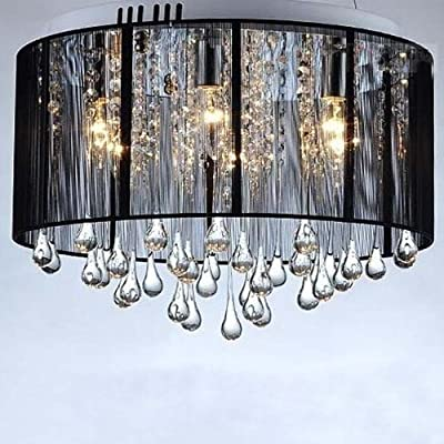 LightInTheBox Luxury Black Drop Ceiling Crystal Chandelier Flush Mount Pendant Lamp Fixture