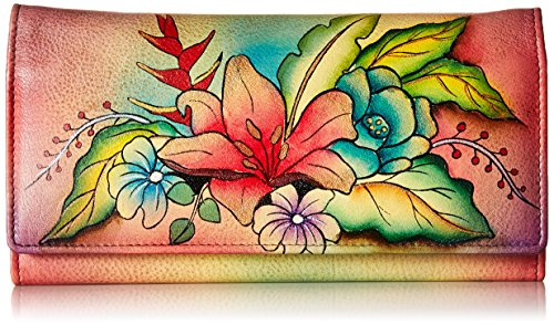 Anna by Anuschka Hand Painted Leather | Multi Pocket Clutch / Wallet | Tropical Bouquet