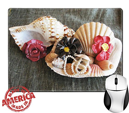 "Luxlady Natural Rubber Mouse Pad/Mat with Stitched Edges 9.8"" x 7.9"" Seashell wiht pearl and ceramic flowers IMAGE ID 5338341"