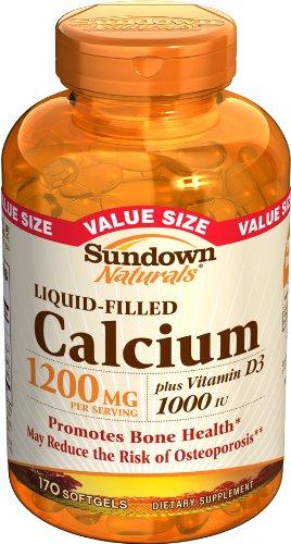 Sundown Calcium Plus D3, 1200 mg, remplie de liquide, 170 gélules (pack de 2)